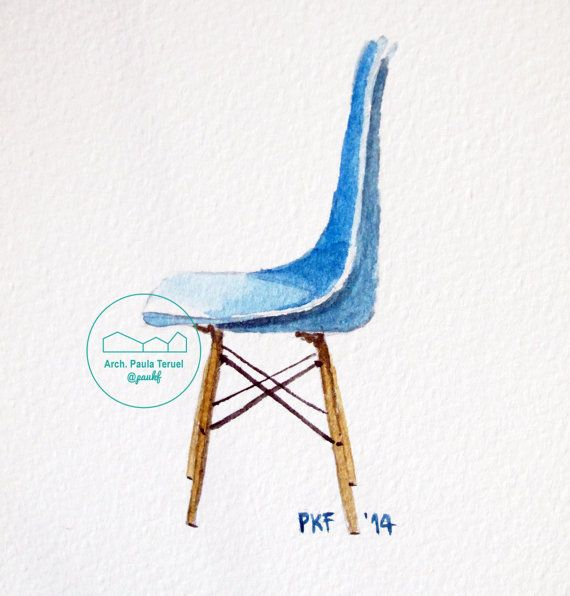 #Watercolor of #Eames Plastic #chair by @paukf #watercolour #acuarela #diseño #buy #art #silla #chaise #sedia #acquarello #modernwatercolour #modern #contemporary #contemporaneo #acuarelaspaukf