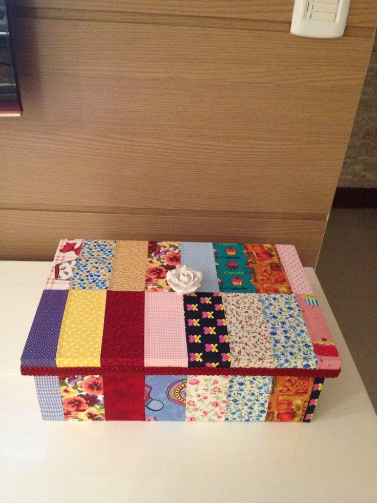 Caixa em patchworkEms Box, Ems Patchwork, Patchwork Boxes