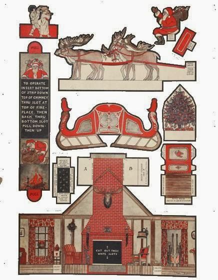 1922`s The Night Before Christmas Paper Model - by Mel Cummin - == -  A beautiful vintage paper model called The Night Before Christmas, created in 1922 by north american designer Mel Cummin (1895 - 1980). Below you find two versions: original and cleaned templates.