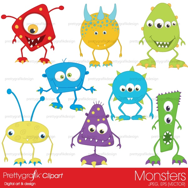 super cute monster clipart for party invitations, birthdays, cards and scrapbooking