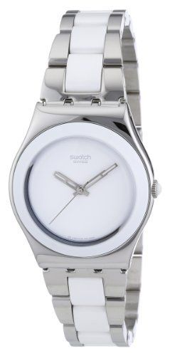 Swatch Women's STYLS141G SS2006 White Dial Watch Swatch. $115.97. Durable acrylic crystal protects watch from scratches. Case diameter: 32 mm. Water-resistant to 99 feet (30 M). Stainless-steel. Quartz movement