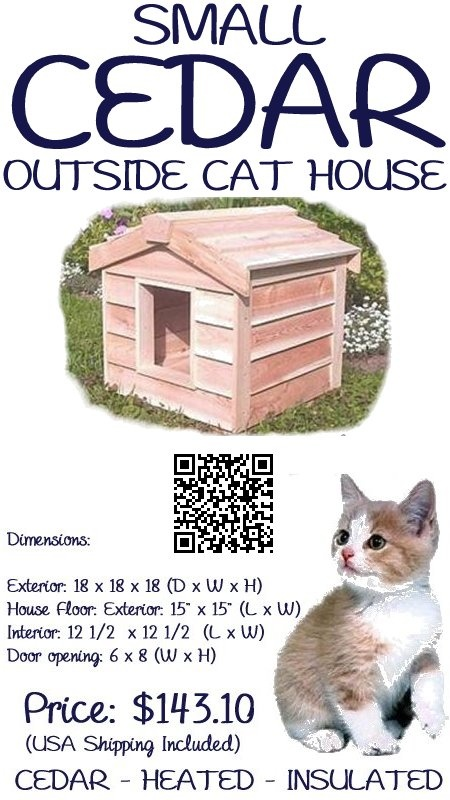 The Small Cedar Outside Cat House is large enough to house 1 averaged sized cat. This house has been individually hand crafted by expert workman, from Canadian  Northern White cedar, the wood of choice for long-lasting outdoor use.  The small outdoor cat house is insulated with Thermal-Ply insulation, which has been placed inside the floors, walls and ceiling, which keeps your cat warm in winter, - #outsidecathouse #outdoorcathouse #catoutsidehouse http://www.catbedandtoy.com/outdoorcathouse