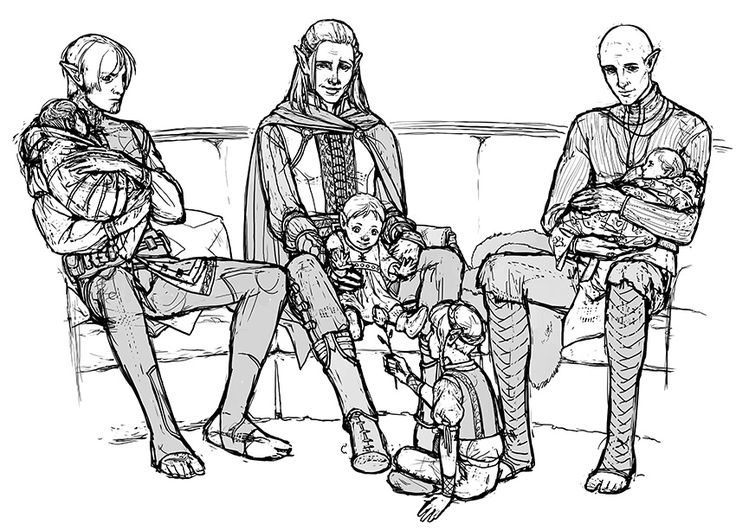 Solas, Zevran, and Fenris as fathers. (My ovaries)