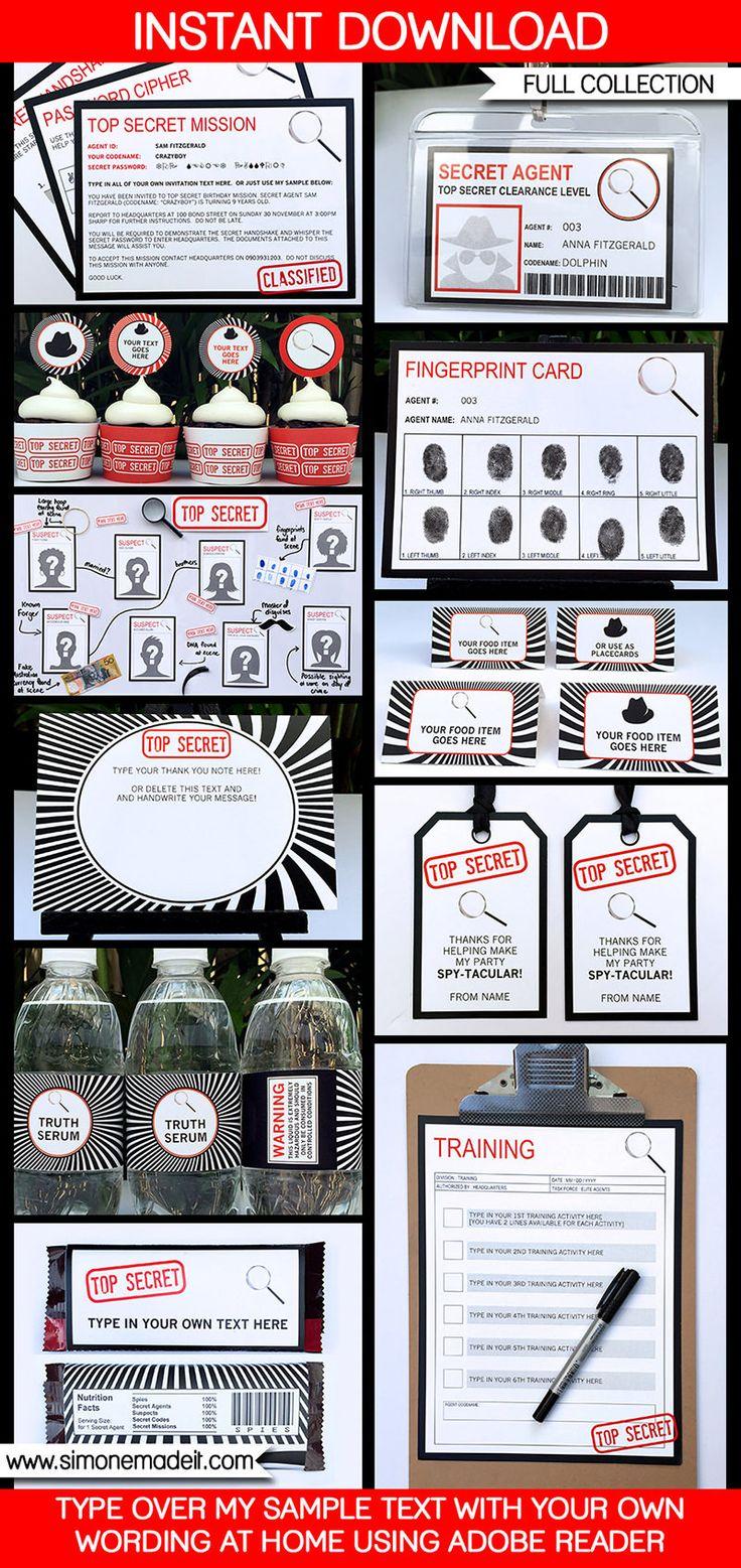 Spy Party Printables, Invitations & Decorations | Secret Agent Theme | Birthday Party | Secret Codes & Ciphers | Editable templates | INSTANT DOWNLOAD $12.50 via SIMONEmadeit.com
