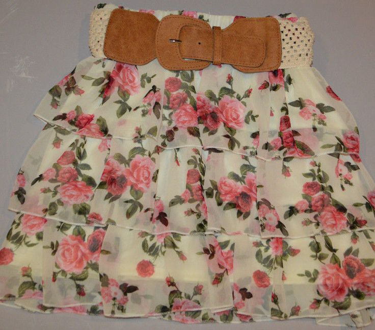 Women's Rue 21 Ivory Pink Floral Ruffle Elastic Waist Skirt Juniors Sizes S,M,L #rue21 #Tiered