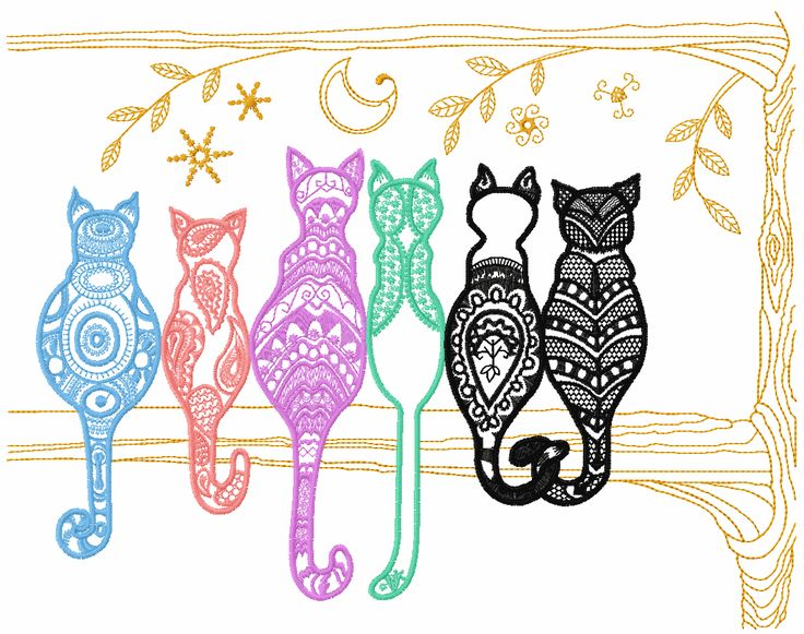 ❚❚ Rainbow cats free embroidery design - Animals free machine embroidery design - Machine embroidery forum