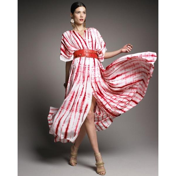Oscar De La Renta Shibori-Chiffon Caftan Dress found on Polyvore