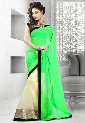 Green and cream plain georgette and net half half designer saree with blouse