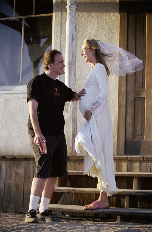 Quentin and Uma Thurman on-set of Kill Bill. This is too cute for some reason!