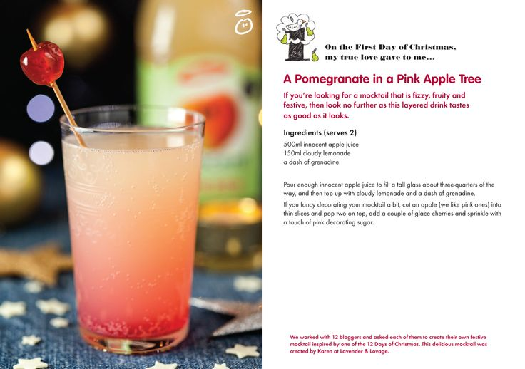 St Lucys Day,The Twelve Days of Christmas and A Pomegranate in a Pink Apple Tree Mocktail Recipe!