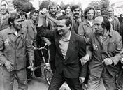 The summer of 1980, when Lech Wałęsa was fired because of his professional and political work. He was a trained electrician working at the shipyard in Gdansk. For his struggle for democracy, he was awarded the Nobel Peace Prize in 1983. He was Poland's president from 1990 to 1995.