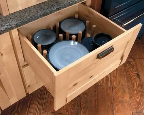 alternative to storing plate in the cabinets above the counters