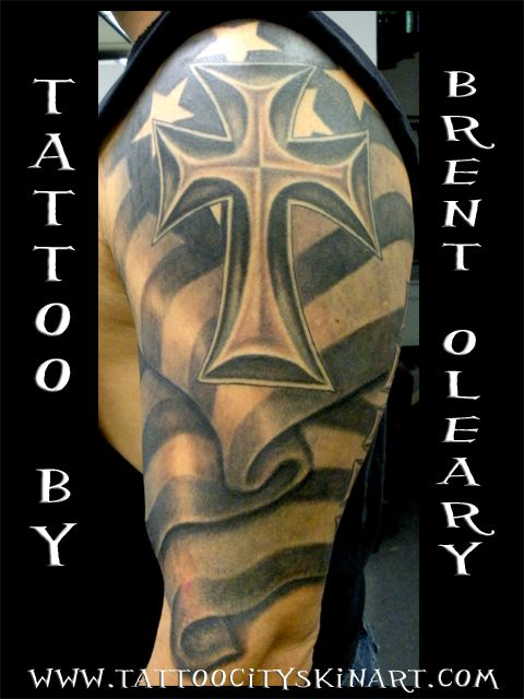 Cross n Flag Tattoo Design On Shoulder