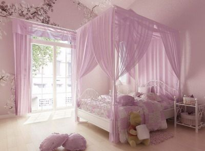 Bedroom for a girl/daughter; A lovely room for a little girl...I particularly like the canopy bed, how that matches with the curtains, and the wall art. Has a whimsical princess feel, without being too vibrant or shocking in pink.