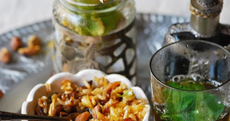 arroz marroquí, especias, pollo, arroz largo
