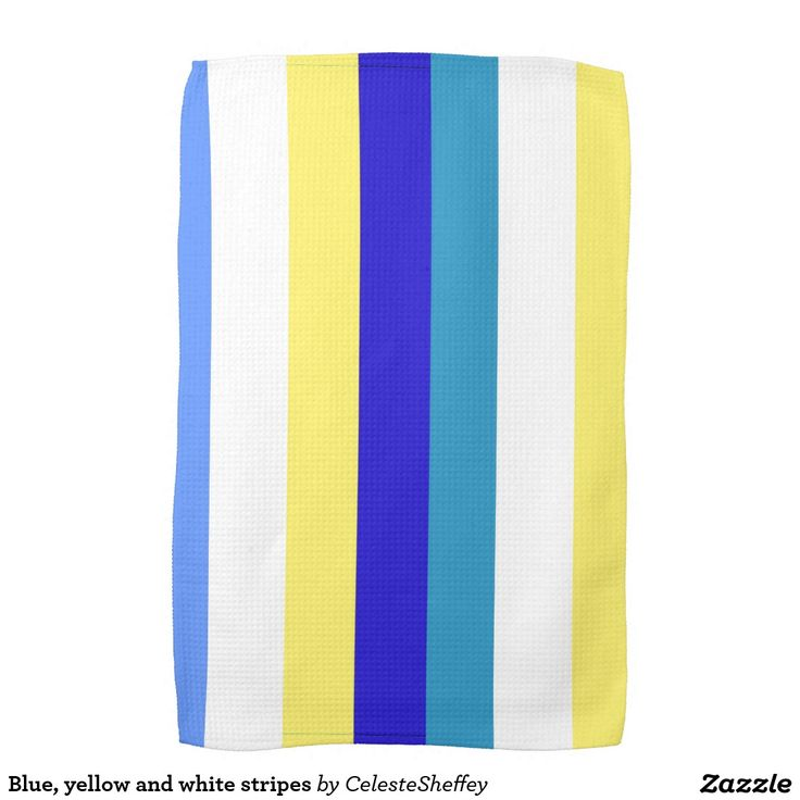 Blue, yellow and white stripes hand towel