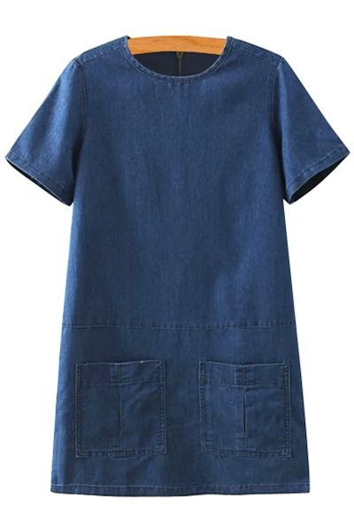 Short Sleeve Solid Color Denim Dress