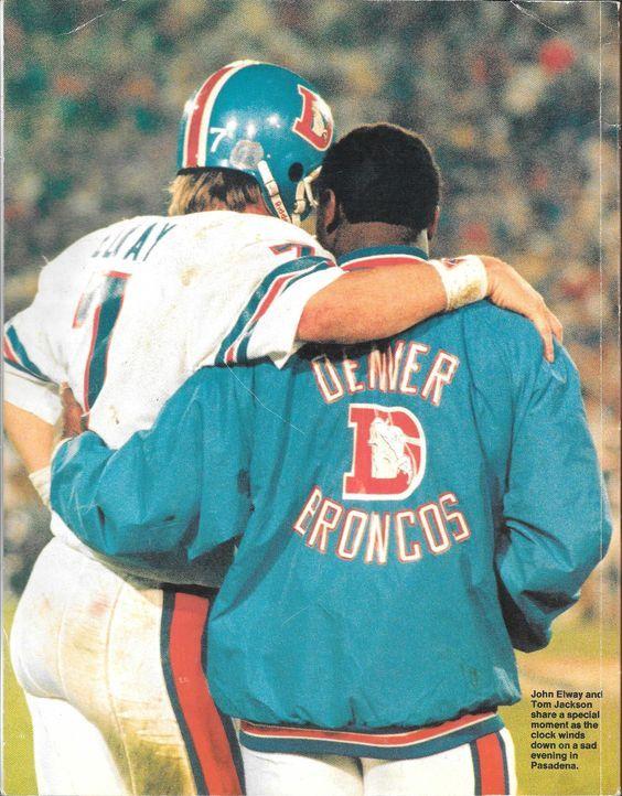 JOHN ELWAY and TOM JACKSON at Super Bowl XXI-January 25, 1987: