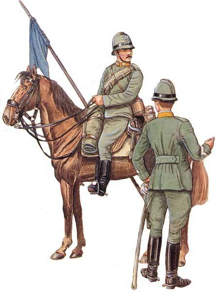Regio Esercito - Sergente (a destra) e soldato (a sinistra) del 10 ° Reggimento Lancieri Vittorio Emanuele II