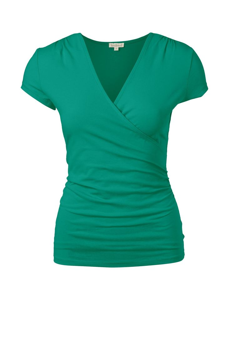 faux wrap cap sleeve, Blue Jade