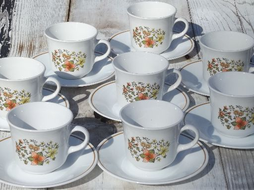 Indian Summer Corelle retro 70s 80s vintage Corning glass coffee cups