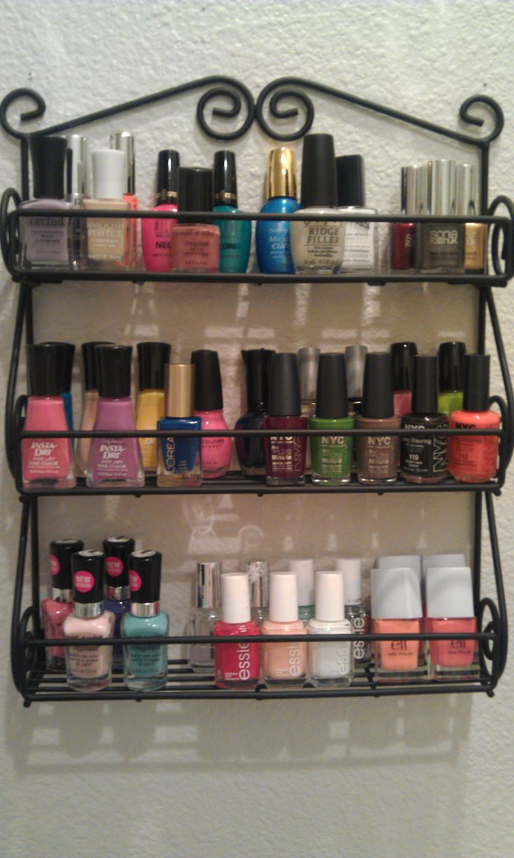SPICE RACK FOR POLISHES  as i was FINALLY putting this up in my bathroom i realized ive lost some of my polishes somewhere :(  [link added for purchase]