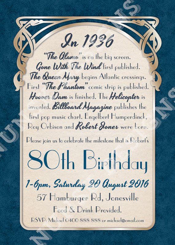 80th Birthday Party Invitations // Men's Art by NunskDesigns