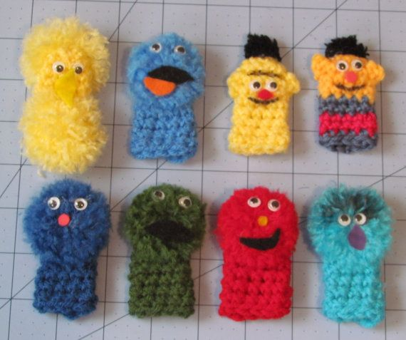 Sesame Street finger puppets set of 8 cookie Monster Bert Ernie  Oscar  Elmo  B Bird Grover Animal  Ready to ship  Etsy Store Shout Out!  Really Cute!