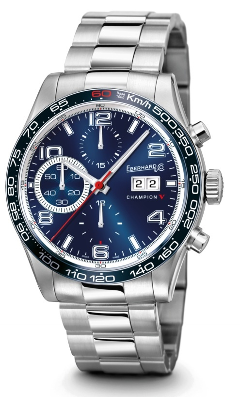 Champion V Grande Date  Ref 31064.5  Mechanical automatic winding chronograph. 42,80 mm steel case, convex sapphire glass anti-reflective, screw-in crown, caseback fixed by 6 screws, steel Chablis bracelet.