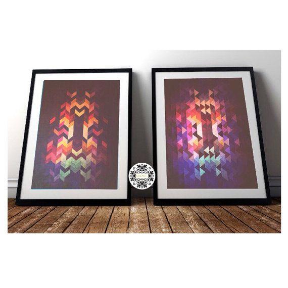 Set of 2 Art Prints Ombre Geometric Art Print, Retro Wall Art Mid century Art Triangles abstract geometric print minimalist art