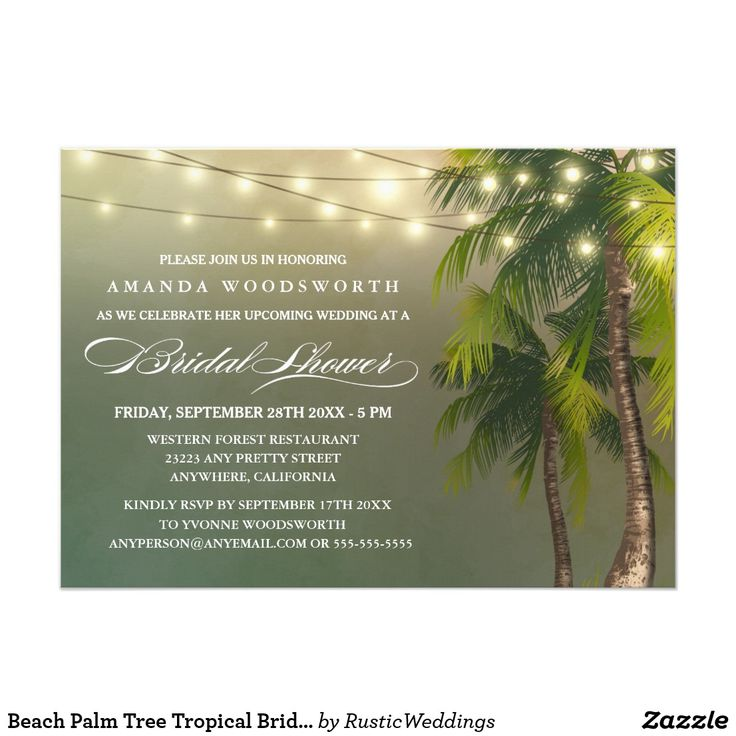zazzle wedding invitations promo code%0A Beach Palm Tree Tropical Bridal Shower Invitations