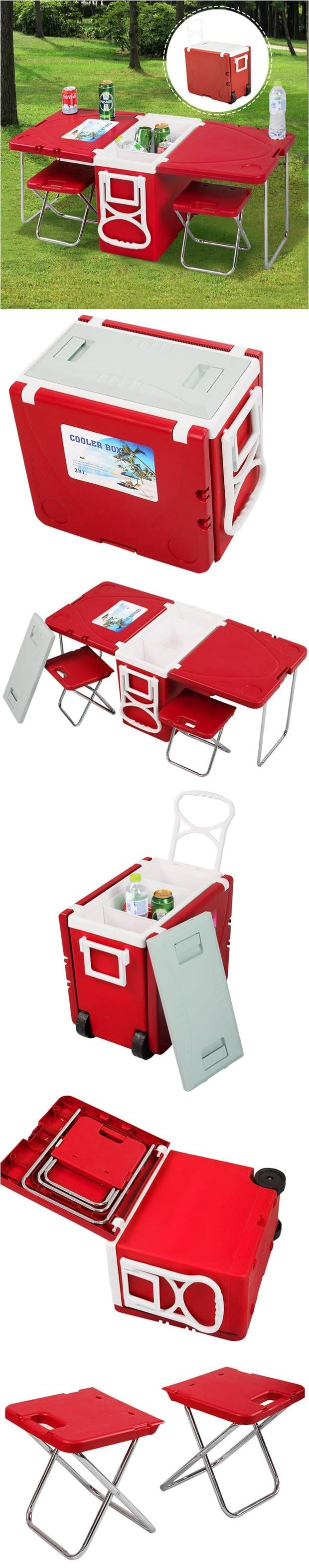 Multi-Functional Rolling Cooler With Picnic Table And Two Chairs! Perfect for picnics in the park or beach, camping and any outdoor parties! #outdoor #picnic #camping