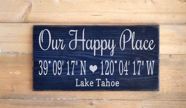 Lake Decor Personalized Beach House Family Name Sign Our Happy Place Latitude Longitude GPS Mountains River Home Custom Wood Signs Life Living Quotes Couple Gift