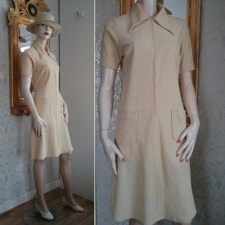 Retro vanilj-gul frotté plysch-klänning sommarklänning 60-tal 70-tal ... db7ac3dedb053