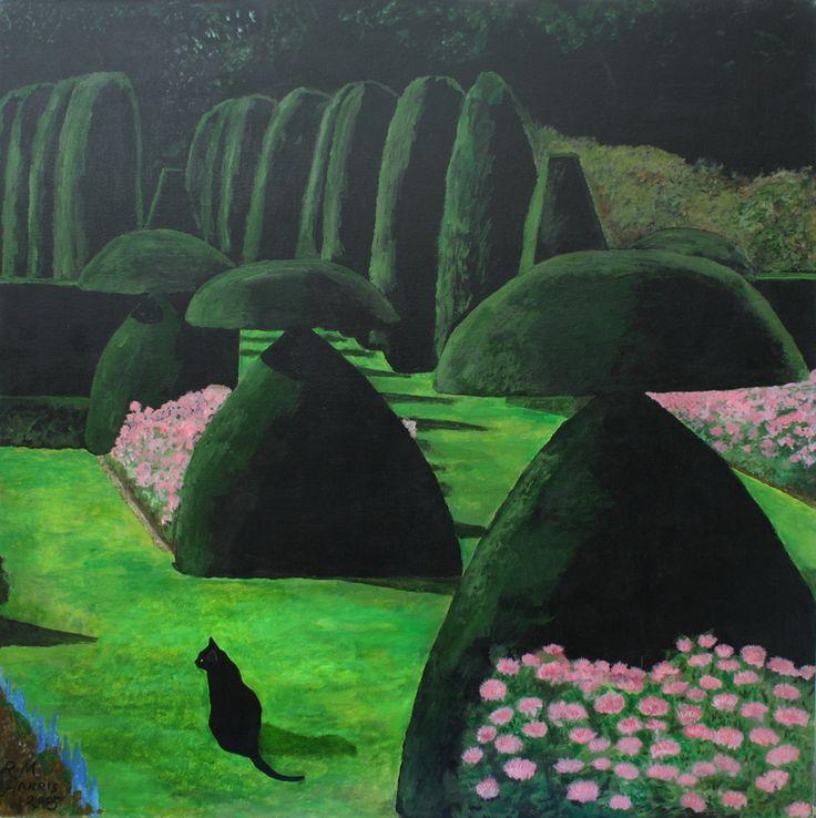 """Saatchi Online Artist: Robert Harris; Acrylic, 2012, Painting """"Hinton Ampner garden 1"""" #art"""