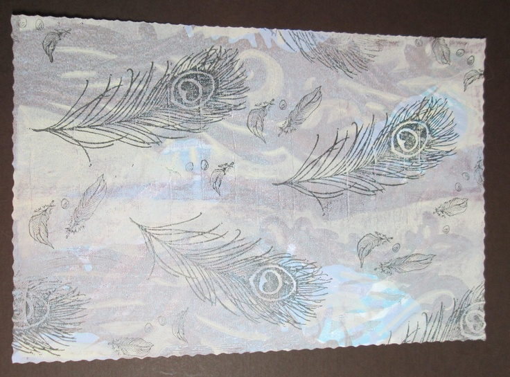 My first play with my Gelli Arts Plate - added some stamped feathers
