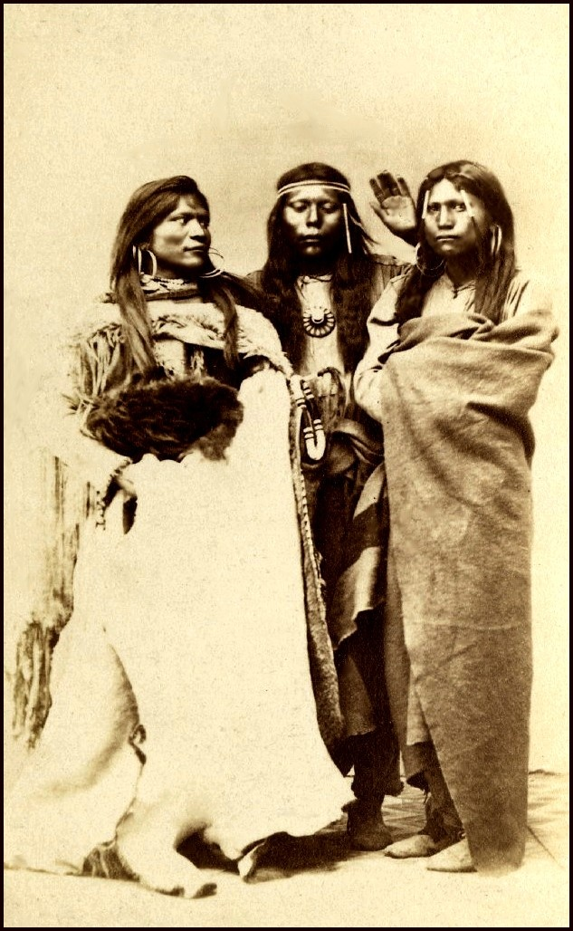 Three Paiute women. Photographed Salt Lake City, mid 1800s.