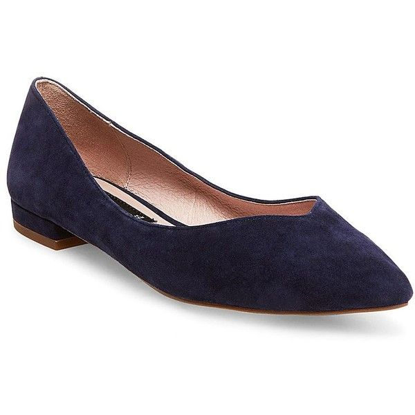 Steven by Steve Madden Women's Lavender Suede Point Toe Flats (320 PEN) ❤ liked on Polyvore featuring shoes, flats, red, suede flats, navy blue flat shoes, flat pumps, slip-on shoes and navy flat shoes