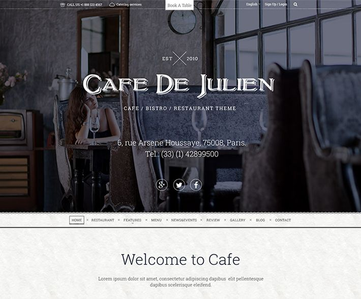 Cafe De Julien WP Restaurant Theme by Vladan Zlatic
