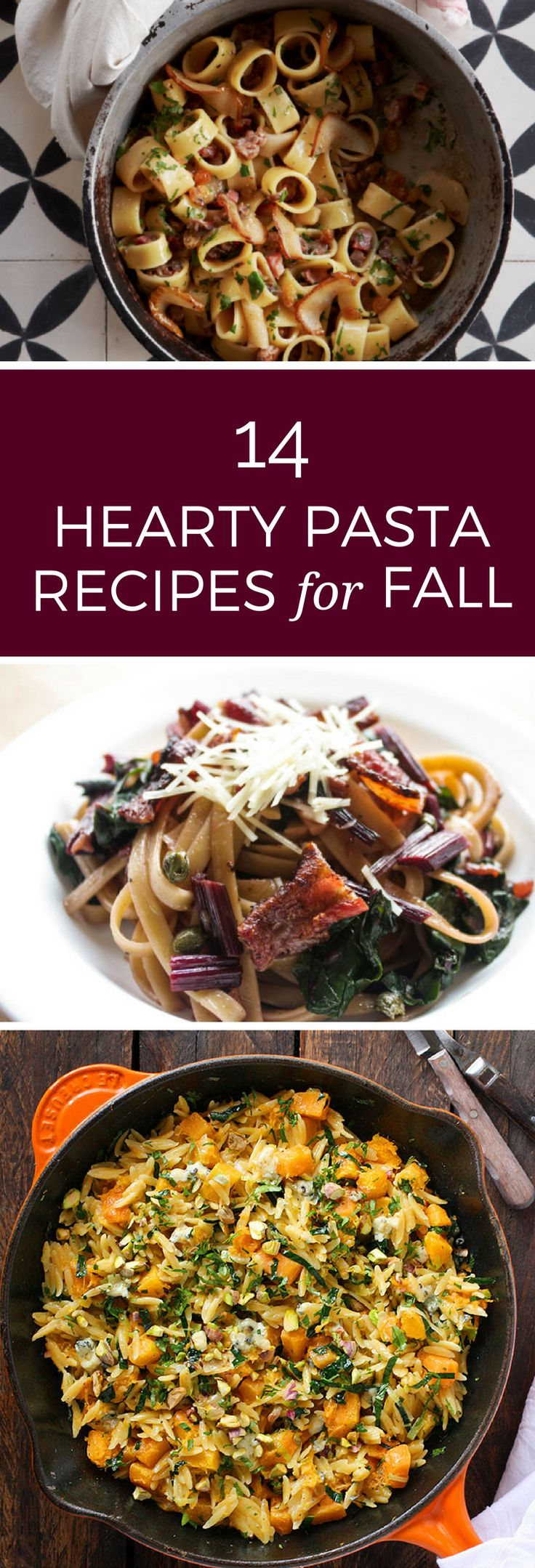 Pasta is the perfect comforting meal for fall. These 14 autumn-inspired recipes are hearty and great for a busy weeknight or family gathering!