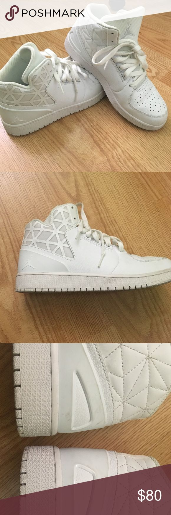 White Jordans Only worn 2x These are in great condition other than a little dirt as shown in pic . Not noticeable at all and I'm sure with the right product can come out . I am open to offers but please no low balls Air Jordan Shoes
