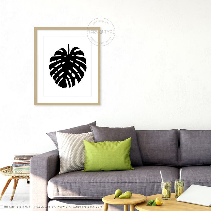 Monstera Leaf, Tropical Leaf, Botanical, Printable Wall Art, Minimalist Digital Print, Black and White, Scandi Style Poster, Black Monstera by StarsAndType on Etsy