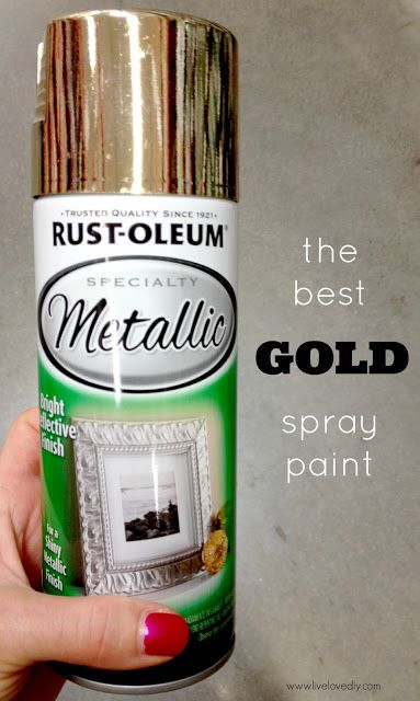 There are a million gold spray paints out there, but they are not made equal. If you're looking for that certain gold color that is super trendy right now, yet always classic, the go-to gold spray paint is Rustoleum Metallic Gold.