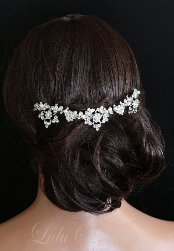 Bridal Hair Accessory Back Comb Swarovski Crystal and Pearl Flower Vine Comb Wedding Head Piece LUCINDA