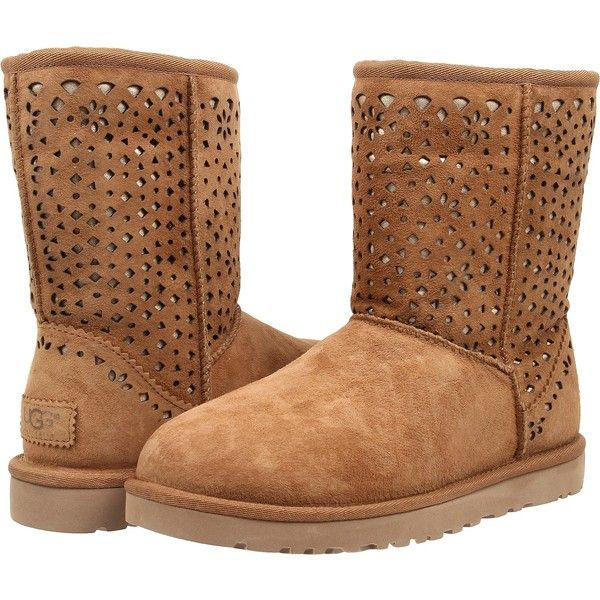 UGG Classic Short Flora Perf (Chestnut Water Resistant Suede) Women's...  ($88) ❤ liked on Polyvore featuring shoes, boots, ankle booties, ankle boots,  ...