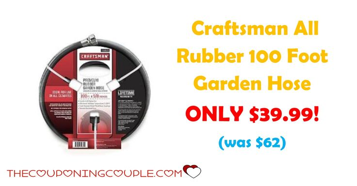 HOT BUY! Craftsman All Rubber 100 Foot Garden Hose is ONLY $39.99 (was $62)! Great time to replace those cracked and broken hoses!  Click the link below to get all of the details ► http://www.thecouponingcouple.com/craftsman-all-rubber-100-foot-garden-hose/ #Coupons #Couponing #CouponCommunity  Visit us at http://www.thecouponingcouple.com for more great posts!