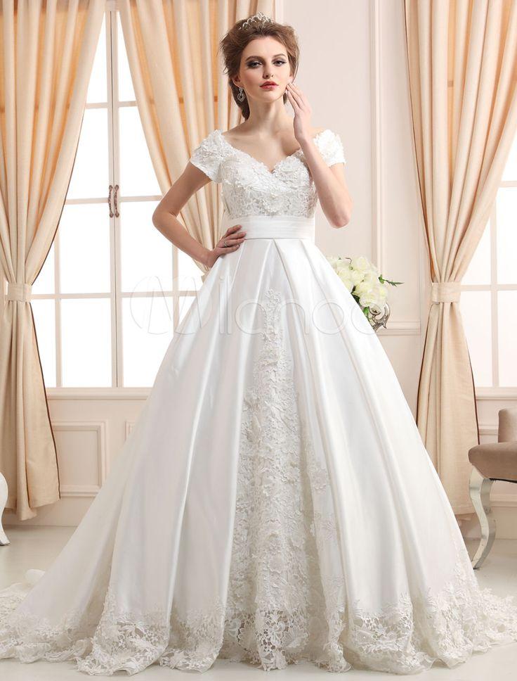 vestido de noiva marfim princesa decote v em renda e cetim