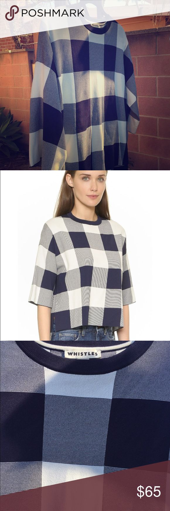 "Whistles ""Clark"" Knit Gingham Top A double-layered Whistles top with a boxy silhouette and checked pattern. High-low hem and side slits. Dropped shoulders and half sleeves. Worn once, in new condition! Whistles Tops Blouses"