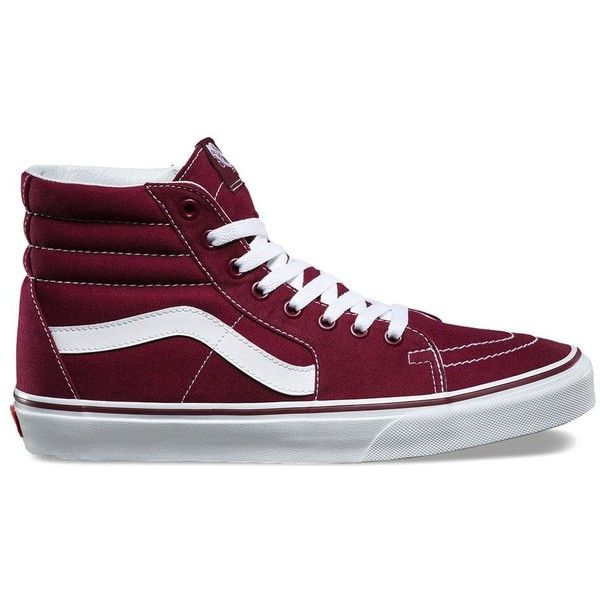 Vans Canvas SK8-Hi ($60) ❤ liked on Polyvore featuring men's fashion, men's shoes, men's sneakers, burgundy, mens high top sneakers, mens canvas shoes, burgundy mens shoes, mens lace up shoes and mens canvas sneakers