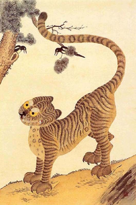 Minwha(Korean Folk art)-magpie and tiger by kimsingu